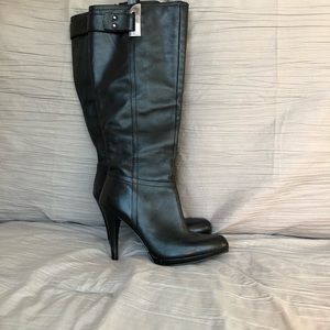 Nine West Black Leather Knee-High Boots